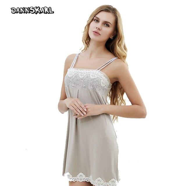 2017 Sexy Women s nightgowns sleepshirts Lace Tulle Braces Skirt Nightwear modal Sleepwear Slim Casual Nightgown