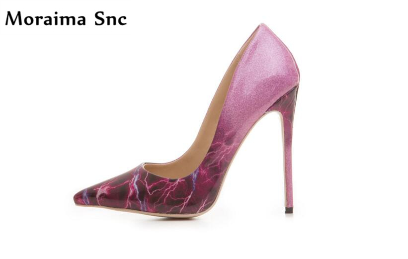 Moraima Snc 2018 Newest pumps pointed toe sexy woman pumps shallow stiletto heels up leather shallow slip-on dress shoes newest flock blade heels shoes 2018 pointed toe slip on women platform pumps sexy metal heels wedding party dress shoes