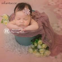 40x160cm Neugeborenen Fotografie Requisiten Mohair stricken Foto dehnbar Wrap & Stirnband Sets Tuch für Infant Accessoire