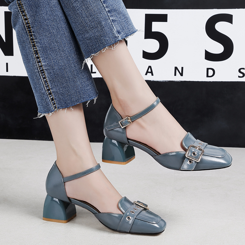 EOEODOIT Women Leather Pumps OL Casual All Match Women Med Square Heel Round Toe Autumn Summer Shoes Ankle Buckle 5 CM HeelEOEODOIT Women Leather Pumps OL Casual All Match Women Med Square Heel Round Toe Autumn Summer Shoes Ankle Buckle 5 CM Heel