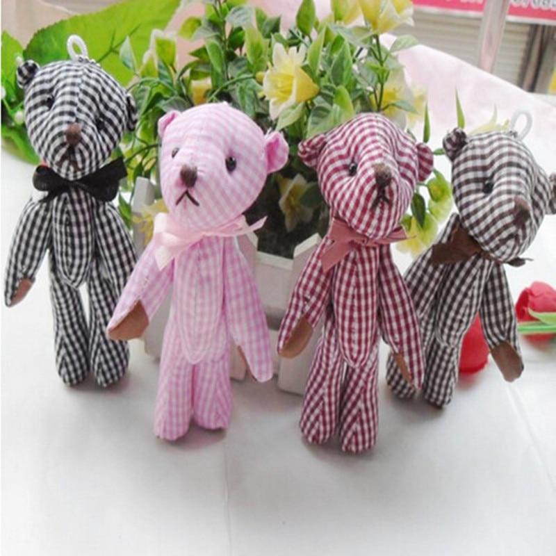 10gab. Pledi auduma poga rotaļu mini lāči, 11cm lāča pušķis, kāzas Dzimšanas dienas dāvana DIY kulons, bērni zēni meitenes bērnu duša puse
