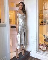 Wave dot printed soft satin sexy front split Irregular spaghetti strap long dress women