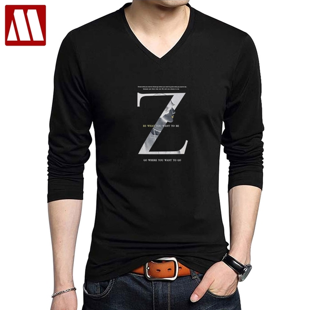 7184fef6413 New Arrival Men s Letter Printed T shirt Elastic Cotton Long Sleeve Casual T -Shirts Black Tees V-Neck t-shirt Slim fit Tops Tees