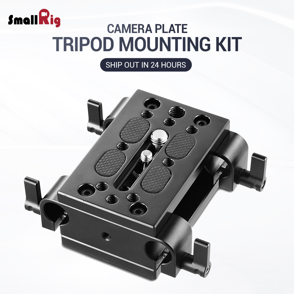 SmallRig Camera Mounting Plate Tripod Monopod Mounting Plate with 15mm Rod Clamp Railblock for Rod Support