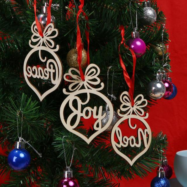 6pcs Christmas Decorations for Home Christmas Tree Ornaments  Laser Hollow Carve Hanging Wooden Pendants