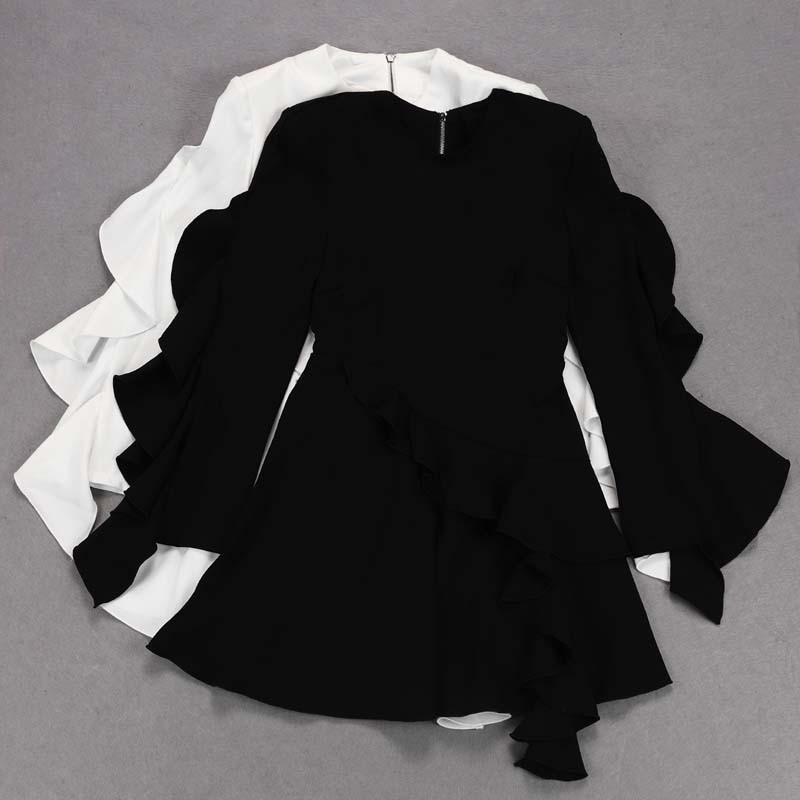 Robe 2018 Moulante Mini blanc Longues Noir Bandage Sexy Parti D'été Robes Noir Blanc À Femmes Manches Bh5646 qASwH1PA