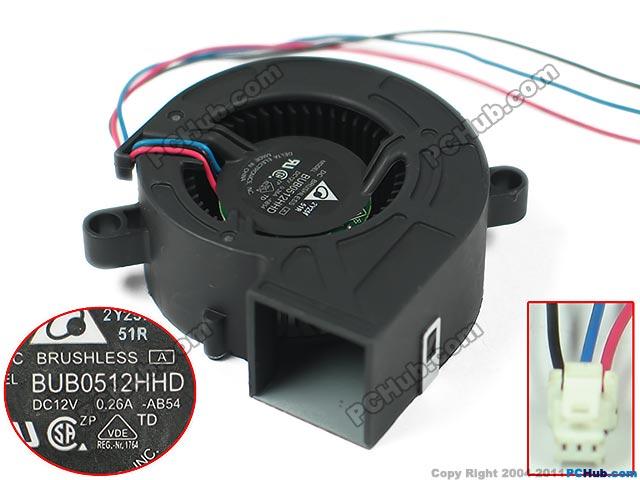 Delta Electronics BUB0512HHD AB54 DC 12V 0.26A 50x50x19mm Server Blower fan