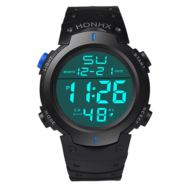 Mens Watches Fashion Water Resistant Watch Mens Boy LCD Digital Stopwatch Date R