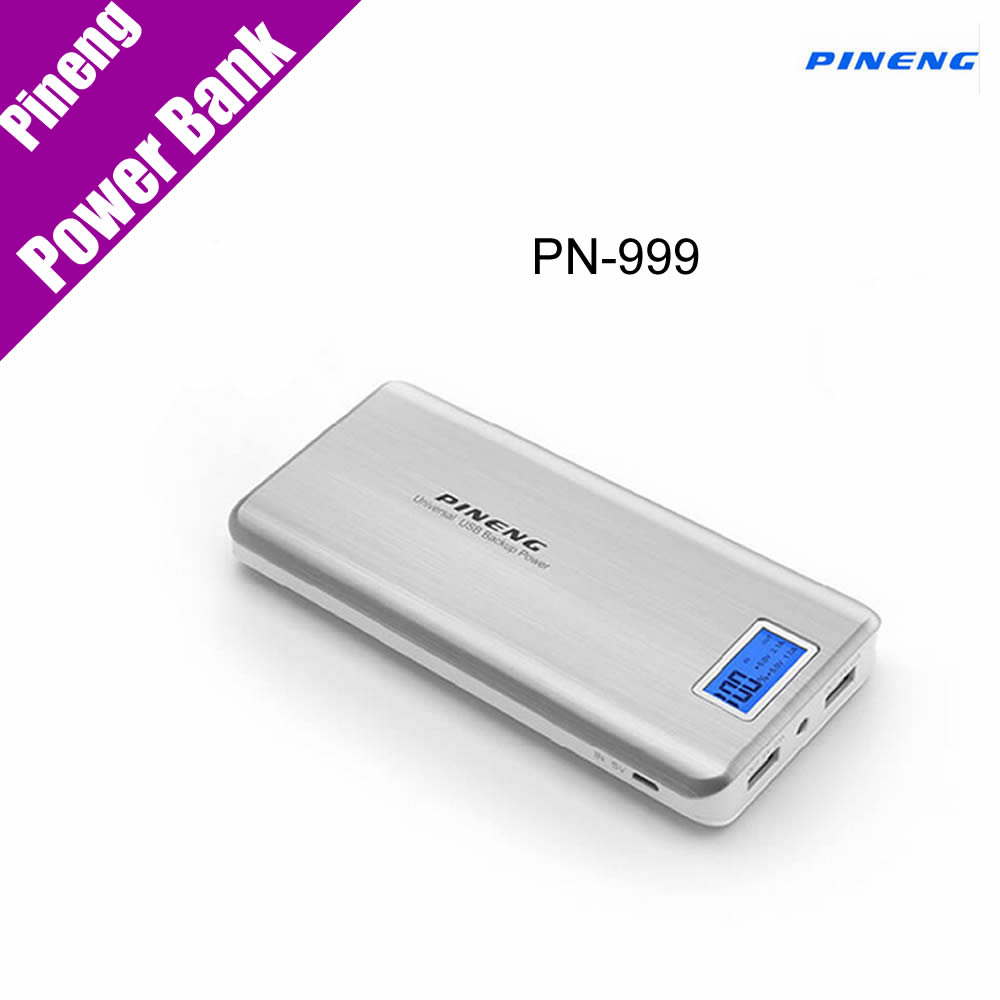 100 Original Pineng Power Bank PN 999 Super High Capacity 20000mAh Dual Micro USB Charger Mobile