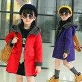 Crianças meninas roupas de inverno 2016 nova versão Coreana mais grossa de veludo grande virgem menina casaco longo seções casaco de trincheira
