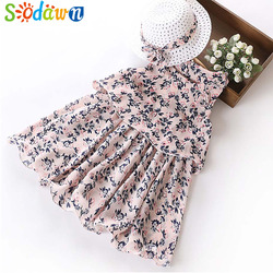 Sodawn 2019 Summer Party Dresses For Girls Wedding Dresses Floral Print Kids Dresses Summer Sundress 5-12Years Baby Girls Dress