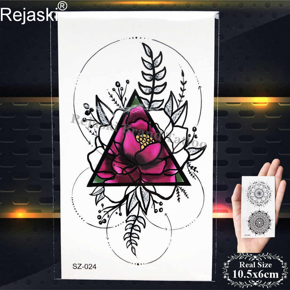 6b38f93ed ... Rejaski Colorful Geometry Flower Temporary Tattoo Stickers Women Fake  Tatoos Lotus Makeup Tips Waterproof Tattoo Black ...