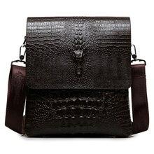Luxury Brand Leather Men Bag Business Casual Alligator Shoul