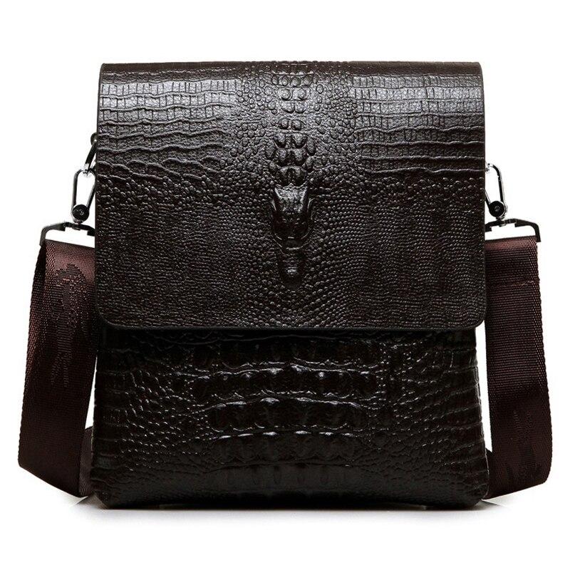 Роскошная брендовая кожаная мужская сумка, деловая Повседневная сумка аллигатора на плечо для IPAD, мужская сумка-мессенджер, крокодиловая с...