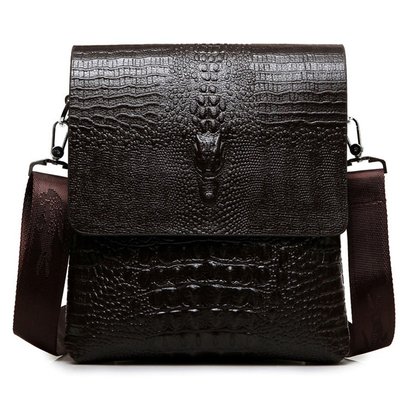 Luxury Brand Leather Men Bag Business Casual Alligator Shoulder Bag For IPAD Male Messenger Bag Crocodile Grain Crossbody Bags
