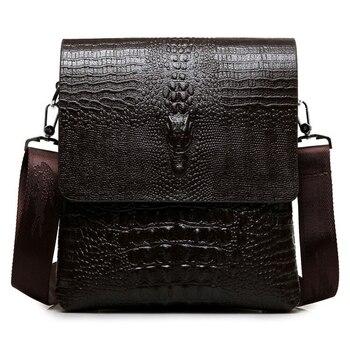 Luxury Brand Leather Men Bag Business Casual Alligator Shoulder Bag For IPAD Male Messenger Bag Crocodile Grain Crossbody Bags