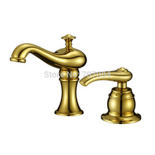 Golden Dual Holes Brass Basin Sink Faucet Single Handle Deck Mount Sink Mixer taps