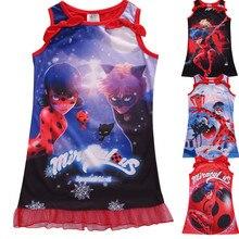 Niñas-Milagrosa Mariquita Vestido Marinette Dupain Cheng Traje de La Princesa Vestido de Verano Vestido de Verano de la Manga(China (Mainland))