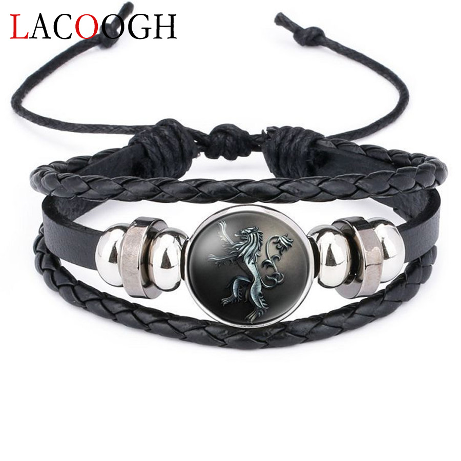 lacoogh New Ethnic Brown Retro Leather Bracelets for Men Women Game of Thrones Multiple Layers Badge Charms Men Bangles Fashion game of thrones chain