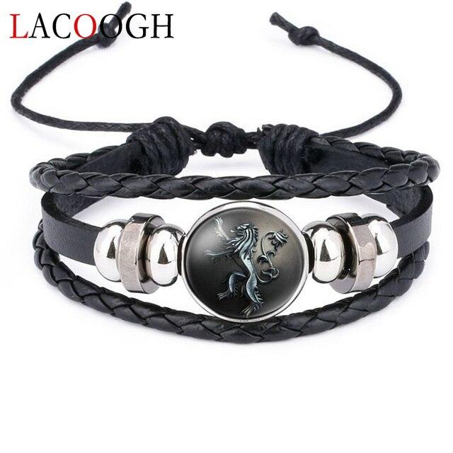 Lacoogh חדש אתני חום רטרו עור צמידי גברים נשים משחק של הכס מרובה שכבות תג קסמי גברים צמידי אופנה