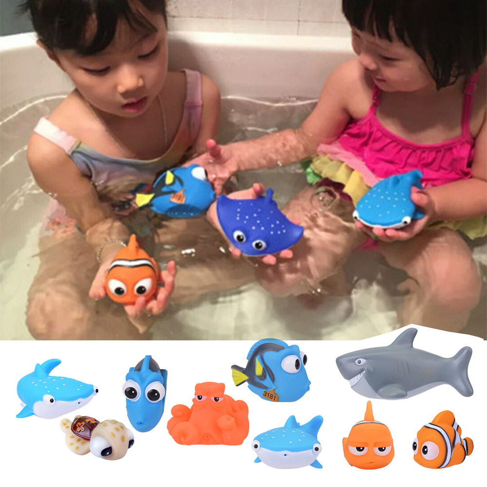 1PCS New Baby Bath Toys Squeeze Debbling Toys Kids Float Water Tub Rubber Clown Fish Nemo Bathroom Play Animals Spray Toy