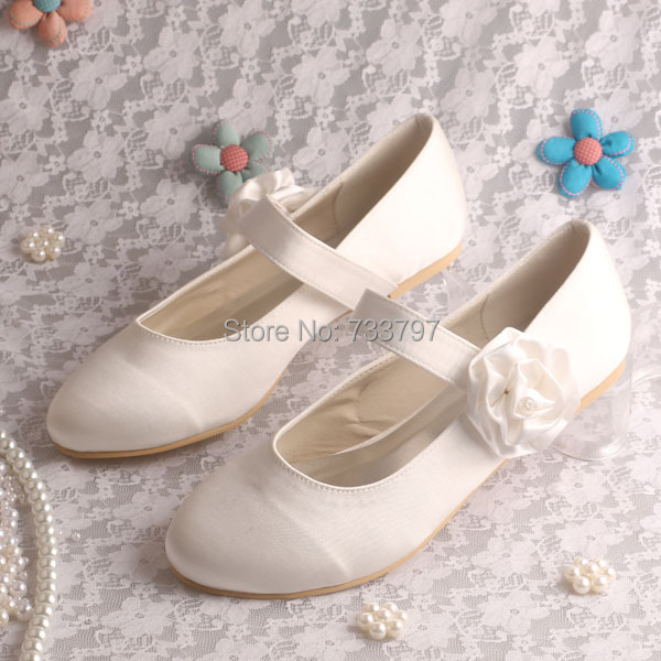(20 Colors)Custom Handmade Flower Women Wedding Shoes Flat Mary Jane Dropshipping