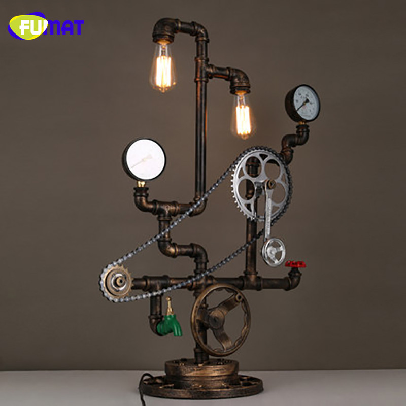 FUMAT Iron Loft Table Lamp Vintage Study Bar Water Pipe Desk Lamps with Axle Chain Decorative Light Designer Studio Table Lamps fumat creative iron water pipe table lamps led industrial loft vintage desk lamps cafe bar robot table lamps for bedroom