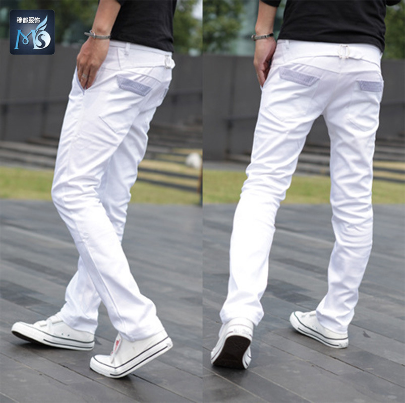 Korean Fashion White Pants For Men Flat Front Leisure Mens Trousers Candy Color Cotton Pants ...
