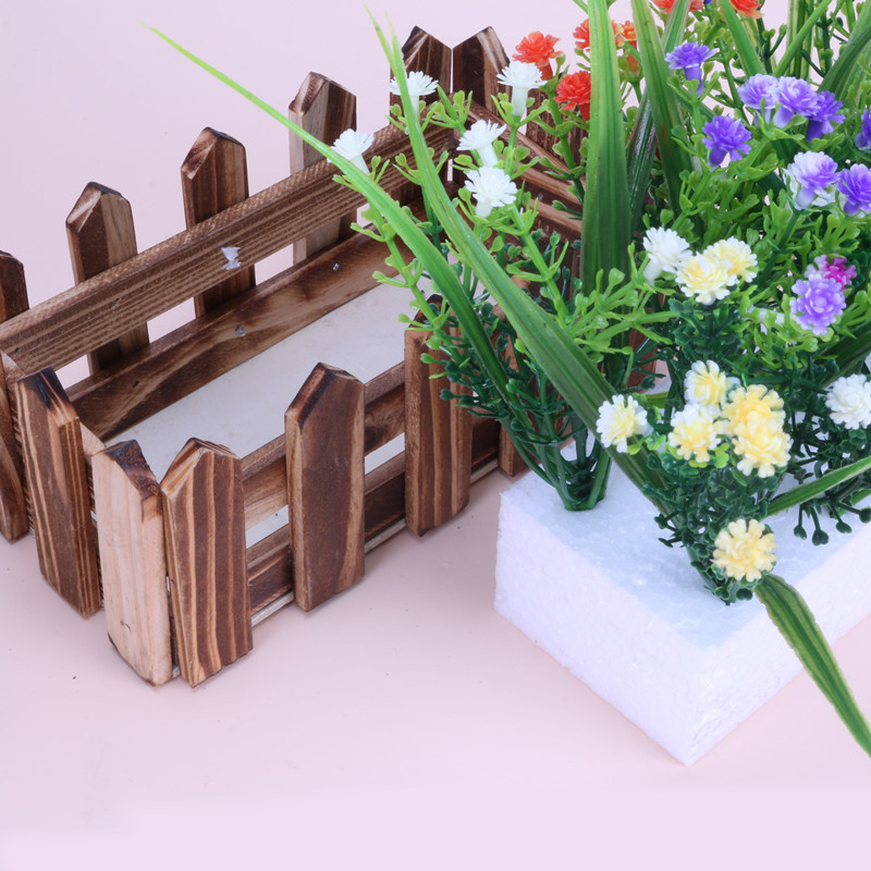 GQIYIBBEI Simulation Flower Fence Decorative Flowerpot Shooting Props Wooden Flowerpot Wedding Garden Decoration Suit in Flower Pots Planters from Home Garden