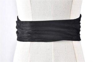 Image 4 - Корейский модный замшевый женский поясной ремень из плюшевой ткани 12,5 см Широкий самозавязывающийся ремень для юбки рубашки платья Женские однотонные ремни для корсета