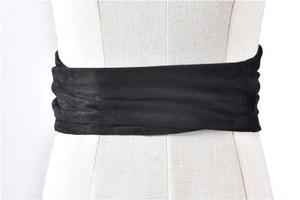 Image 4 - Korean Fashion Suede Plush Fabric Women Waist Belts 12.5CM WIDE Self Tie Bowler Skirt Shirt Dress Belt Female Solid Corset Belts