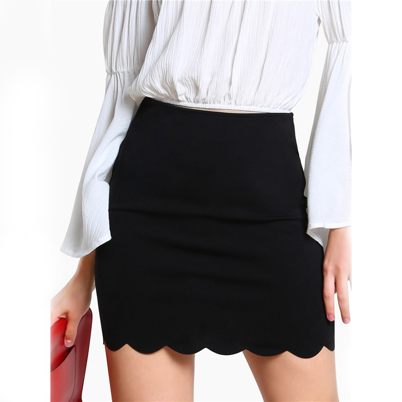 COLROVIE Black Sexy Mini Fitting Skirt Scallop Edge Form Women Elegant OL Summer Pencil Skirts 2017 Back Zip Up Brief Club Skirt 10