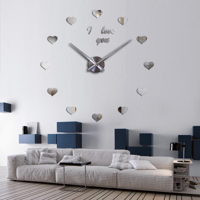 Heminredning mode väggklocka 3d akryl spegel cirkulär dag klockor - Heminredning - Foto 6