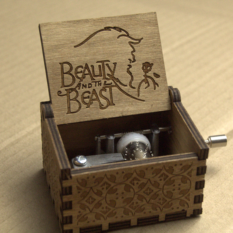 Gifts Moive Beauty and the Beast Theme Handmade Engraved Wooden Music Box Crafts Cosplay