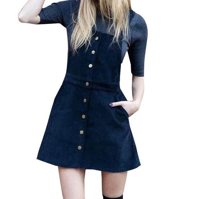 9e8f54bcd QJ51 Fashion 2016 Women overalls Elegant Blue Corduroy Button Pocket Mini  A-Line Strap Skirt