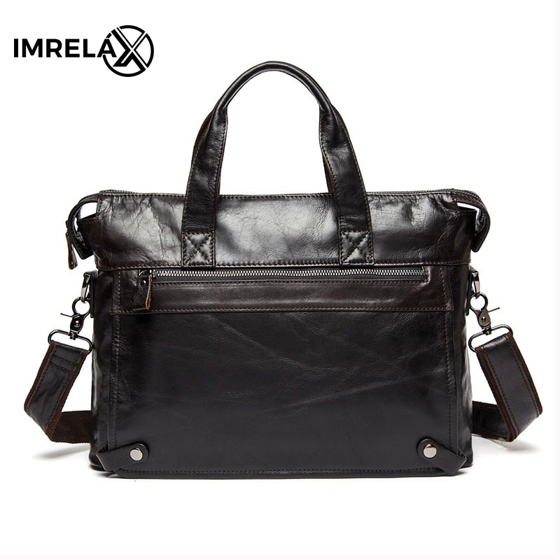 IMRELAX Genuine Leather bag Business Men bags Laptop Tote Briefcases Crossbody bags Shoulder Handbag Men's Messenger Bag 2017 genuine leather bag leather men shoulder crossbody bags briefcases business bag men s travel bags tote men messenger bag