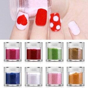 PinPai Fuzzy Flocking Velvet Powder Black White Red Nail Glitter Powder Nail Art Dust Glitter Pigment Manicure Powder UV Gel