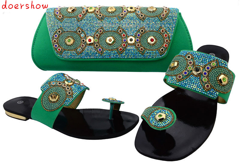 doershow Fashion Italian Matching Shoe And Bag Set High Quality Italy Shoes And Bag Set/ African Shoes And Matching Bags BCH1-28 italian matching shoes and bag set african wedding shoe italy sandal shoe and bag set for party high heels sandal shoes bch 27