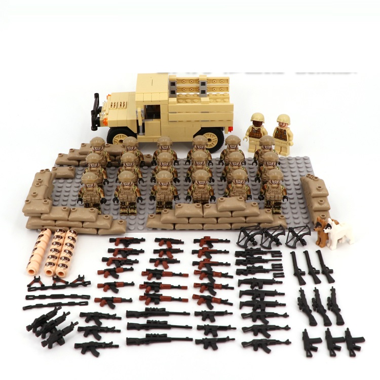 Desert US Special Forces Army Military Weapon Accessories DIY Mini Figures Building Block Brick Original Mini Figures Toys