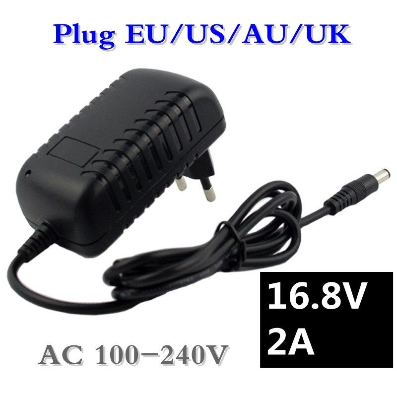 16,8 V 2A destornillador cargador para 18650 batería de litio de 14,4 V 4 Series de iones de litio cargador de pared de batería AC 100 V-240 V EU/US Plug