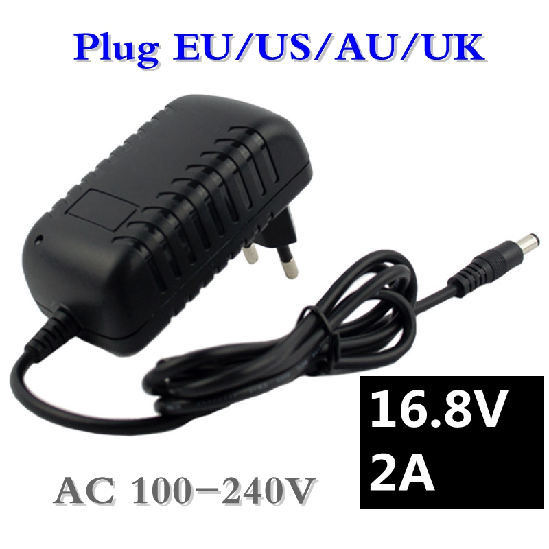 16.8V 2A Screwdriver Charger for 18650 Lithium Battery 14.4V 4Series Lithium li-ion Battery Wall Charger AC 100V-240V EU/US Plug