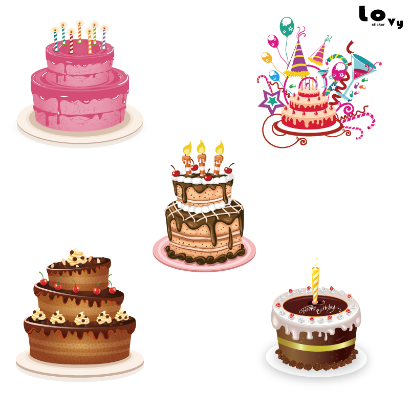 Remarkable Delicious Printed Birthday Cake Vinyl Wall Sticker Birthday Party Funny Birthday Cards Online Fluifree Goldxyz