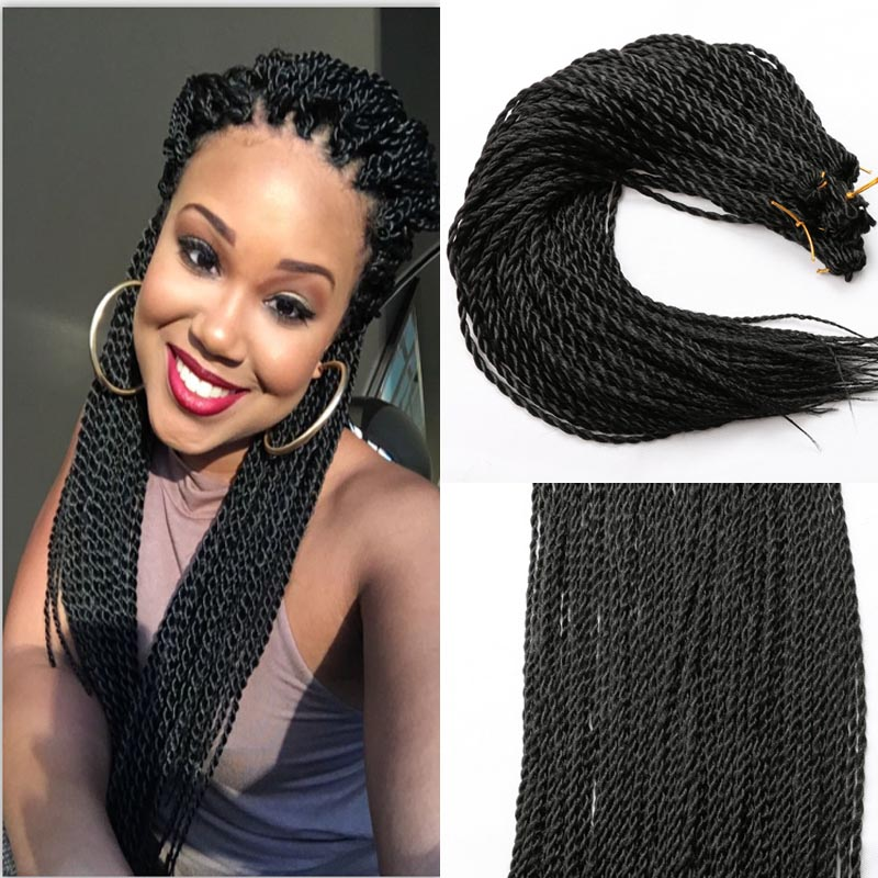 Fashion Long Natural Black Straight Braided Heat Resistant Hair Big