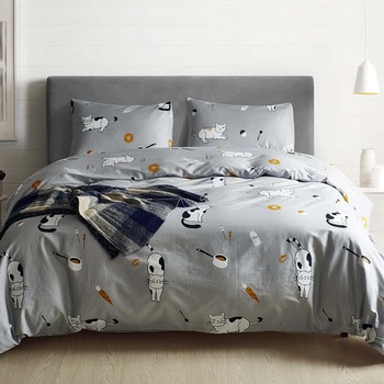 Cartoon Cat Kids duvet cover set 100 cotton Grey Pink Luxury quilt covers King Queen Twin US Size home bedding set capa edredon