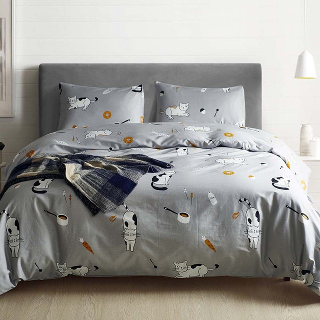 Cartoon Cat Kids duvet cover set 100 cotton Grey Pink Luxury quilt covers King Queen Twin US Size home bedding set capa edredon