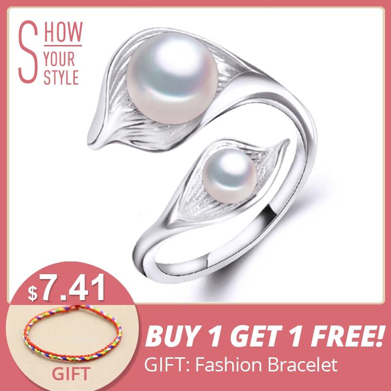FENASY ferskvands naturlige Double Pearl Ring til kvinder, bohemier - Smykker - Foto 1
