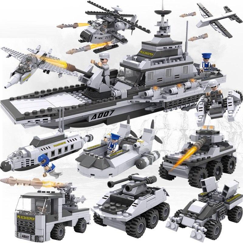 732 pièces Legoings 8 En 1 SWAT pour Avions Carri Briques 25 Modèles Navire Militaire bricolage Modèle Blocs De Construction Kits Garçons Cadeaux D'amusement D'enfants