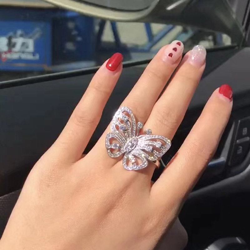 6/7/8 size 925 Sterling Silver Jewelry Big Butterfly ring For Women Wedding gifts AAA cubic zirconia cz stones brand ring vintage rivet hollowed butterfly ring for women page 7
