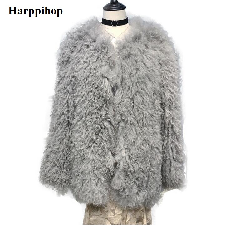 Naturel véritable agneau mouton manteau tricoté en fourrure de mouton Mongole manteau veste manteau Russe femmes hiver chaud manteau de fourrure plus style