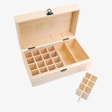 купить Wood Storage Box 25 Slots Essential Oil Bottle Lattice Functional Buckle Organizer Wooden Storage Boxes Holds Container Holder дешево